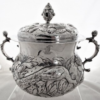 Huge Charles II silver porringer London 1676 by CM