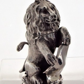 Very rare Victorian silver cast lion rampant inkwell London 1849 Fox