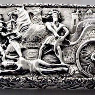 Cast topped Victorian silver snuff box Birmingham 1838 Nathaniel Mills