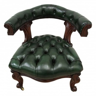 William IV Green Leather Captains Chair