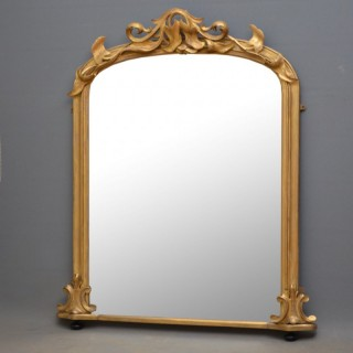 Victorian Giltwood Overmatel Mirror