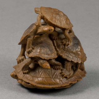 LARGE JAPANESE BOXWOOD OKIMONO STYLE NETSUKE GROUP - TURTLES BY TADAKAZU