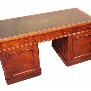 Antique 19th Century Burr Walnut Pedestal Desk