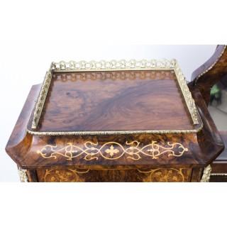 Antique Victorian Burr Walnut Inlaid Bonheur Du Jour c.1860