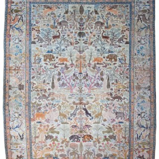 Antique Tabriz pictorial carpet