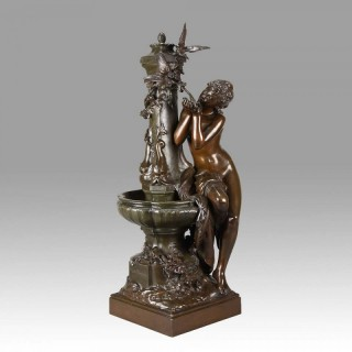 Art Nouveau Bronze entitled 'À la Fontaine' by Mathurin Moreau