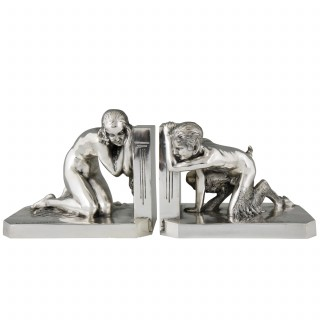 Art Deco silvered bronze bookends nude and satyr