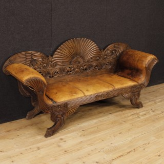 French Sofa In Carved Wood Covered In Leather From 20th Century