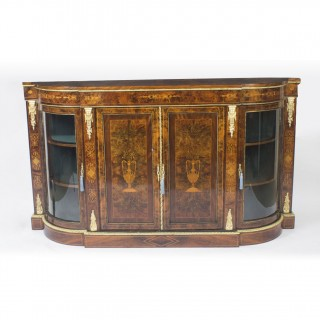 Antique Victorian Walnut Inlaid 4 Door Credenza c.1880