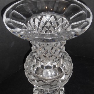 A pair of antique French clear cut crystal urns