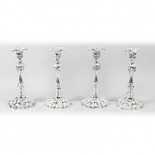 Antique Set of 4 Silver plate Candlesticks by Elkington & Co C1860