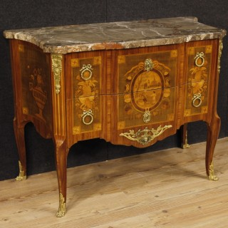 French Dresser In Inlaid Wood With Marble Top In Louis XV Style From 20th Century