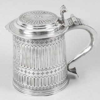 Antique Queen Anne English Silver Lidded Tankard