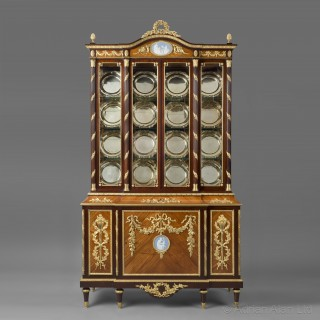 A Louis XVI Style Display Cabinet With Wedgwood Porcelain Plaques