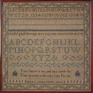 Antique Sampler, 1842, by Mary Ann Ryder