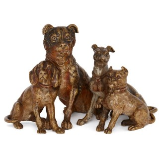 Antique Viennese cold painted bronze dog group