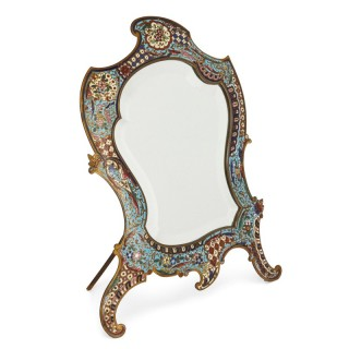 Belle Epoque period brass and champleve enamel table mirror
