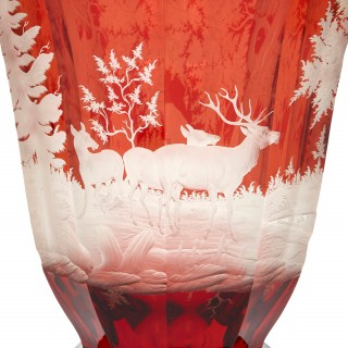 Antique red Bohemian glass goblet
