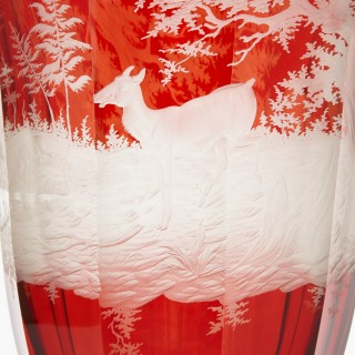 Red and white engraved Bohemian glass goblet