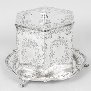 Antique Victorian Silver Plated Biscuit / Sweet Box 19th C
