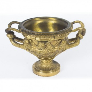 Antique Italian Grand Tour Gilt Bronze Model of Warwick Vase 19th C