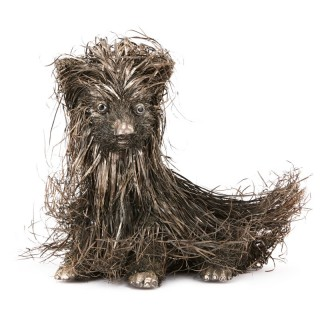 Buccellati style solid silver dog