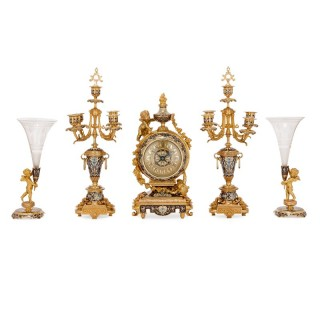 Rococo style gilt bronze and cloisonne enamel clock set