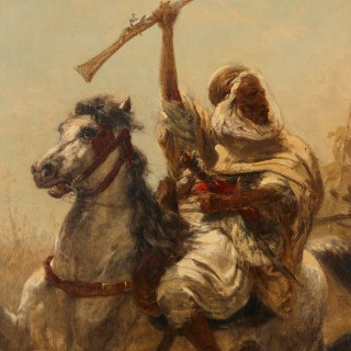 19th Century Orientalist painting by Schreyer titled 'Arab Cavalry in Retreat'