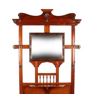 Art Nouveau Walnut Hall Stand