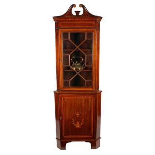 Edwardian Inlaid Double Corner Cabinet