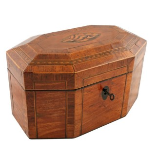 Georgian Satinwood & Kingwood Tea Caddy