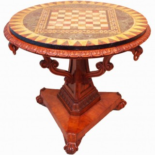 Antique 19th Century Satinwood Pietra Dura Marble Centre Table