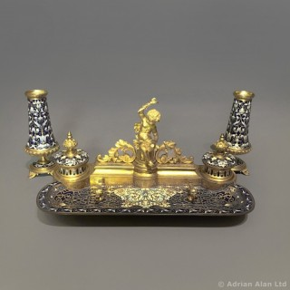 A Champlevé Enamel Desk Set by Barbedienne