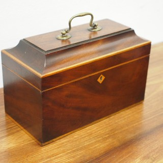 George III Mahogany and Inlaid Tea Caddy