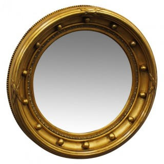 Regency Style Gilt Convex Wall Mirror
