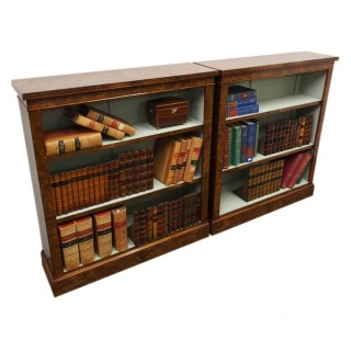 Pair of Victorian Burr Walnut Open Bookcases