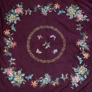 BEAUTIFUL JAPANESE SILK EMBROIDERED SHAWL MEIJI PERIOD - BUTTERFLIES AND FLOWERS