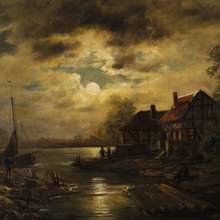 Dutch Signed Painting Oil On Canvas Nocturnal Seascape From 19th Century