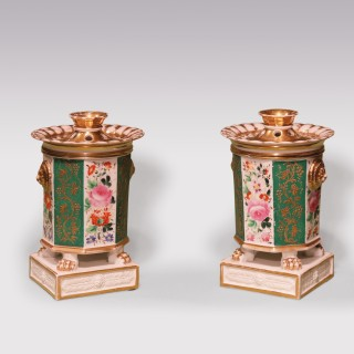 Pair 19th Century porcelain parfumiers