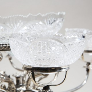 ENGLISH CUT-GLASS AND SILVER PLATE EPERGNE