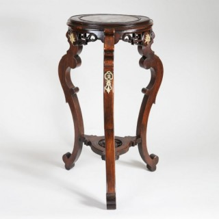 ORIENTAL FRUITWOOD PLANT STAND WITH MARBLE TOP