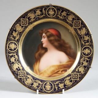 "PORCELAIN VIENNA CABINET PLATE WITH FEMALE PORTRAIT ""GITANA"""