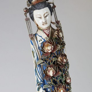 MONUMENTAL CARVED AND PAINTED JAPANESE IVORY GEISHA
