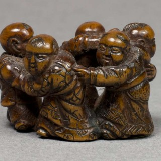 UNUSUAL JAPANESE MEIJI PERIOD BOXWOOD NETSUKE OF FIVE DANCING KARAKO