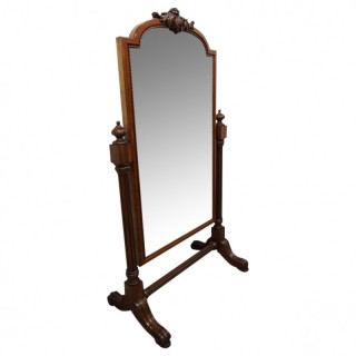 William IV Carved Mahogany Cheval Mirror