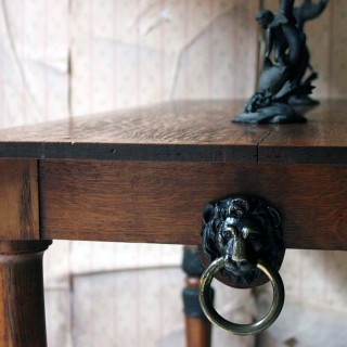 A Late Regency Period Golden Oak & Ebonised Library Table c.1820-25