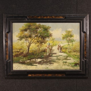 French Signed Painting Mixed Media On Canvas Landscape With Characters From 20th Century