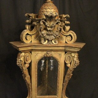 Italian Giltwood Triple Light Antique Lantern