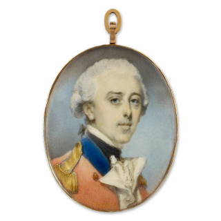 A portrait miniature of an Officer, wearing scarlet coat with blue collar, gold epaulette, white waistcoat and frilled shirt, his hair powdered and worn en queue), c. 1780