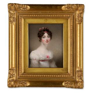 A Lady, wearing white dress trimmed with pink ribbons, her dark hair also woven with pink ribbons, 1819